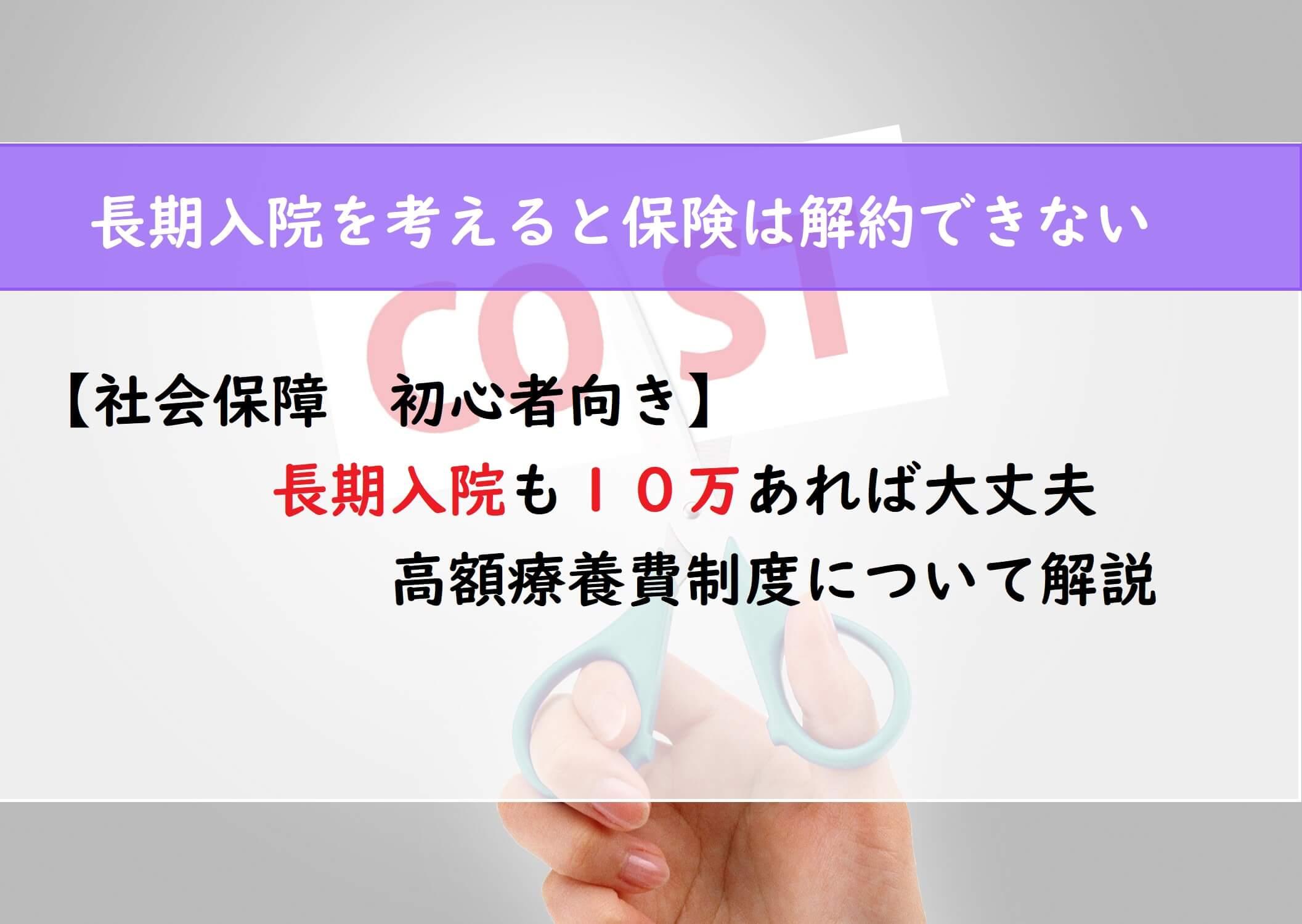【社会保障 初心者向け】長期入院も10万あれば大丈夫 高額療養費制度について解説